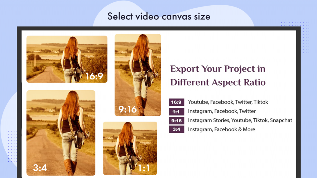 Export Video in any size movie creator movie maker free video editor create a slideshow video with music Create or Edit Videos