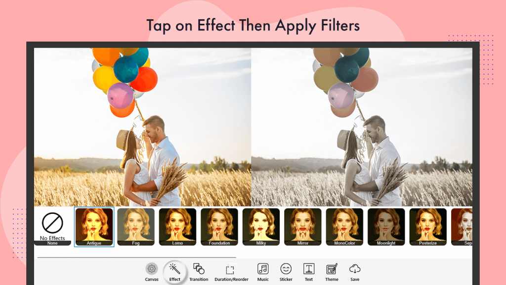 Add Effects and Theme video editor movie creator movie maker filter and theme create a slideshow video with music