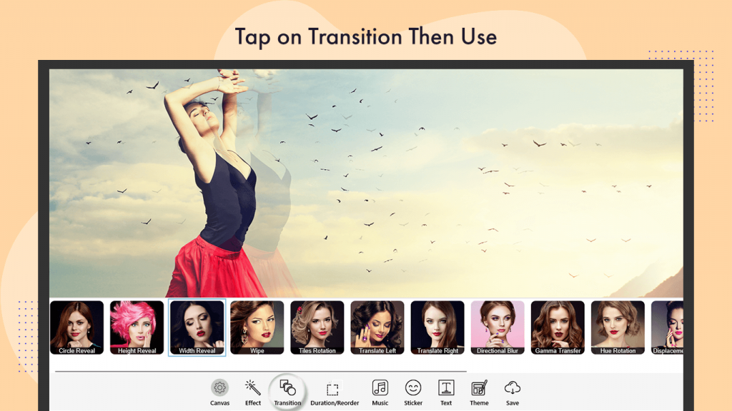 How to Apply Transitions effects videopix store video maker video editor movie creator movie maker create a slideshow video with music