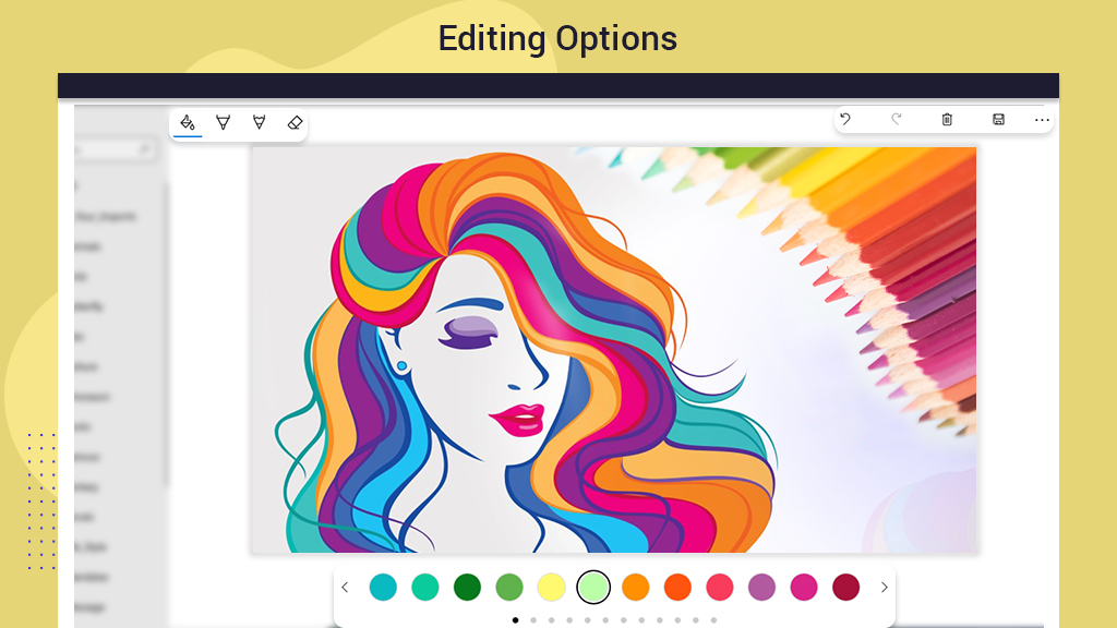 How to Undo Redo Delete ink in the adult coloring book colors in adult coloring books